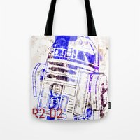 r2d2 Tote Bags featuring R2D2 by mchlsrr