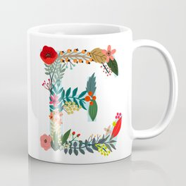 Monogram E Floral letter Coffee Mug