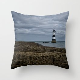 Storm Clouds Over The Trwyn Du Lighthouse Throw Pillow
