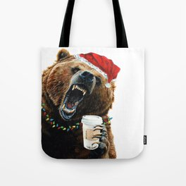 Grizzly Mornings Christmas Tote Bag