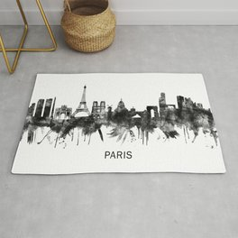 Paris France Skyline BW Rug