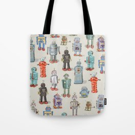 Vintage Style Robot Collection Tote Bag