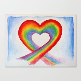 rainbow heart watercolor Canvas Print