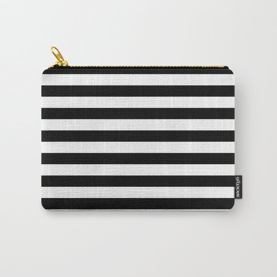 Horizontal Stripes (Black/White) Carry-All Pouch