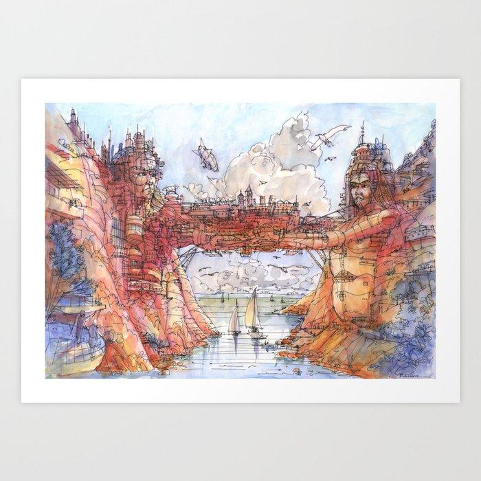 La Citta' Ponte (Color Version) Art Print