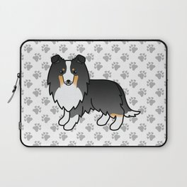 Tricolor Shetland Sheepdog Dog Cartoon Illustration Laptop Sleeve