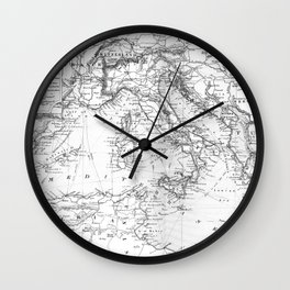 Vintage Map of The Mediterranean Sea (1891) BW Wall Clock
