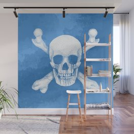 Jolly Roger Pirate Skull Blue Pastel Wall Mural