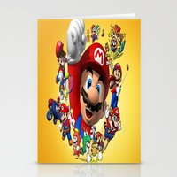 super mario Stationery Cards featuring super mario  , super mario  games, super mario  blanket, super mario  duvet cover, super mario  show by ira gora