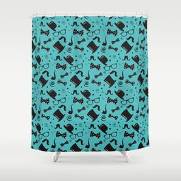 Hipster Elements Pattern on blue Shower Curtain