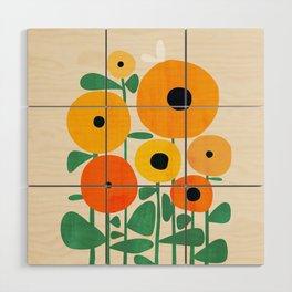 Sunflower and Bee Wood Wall Art