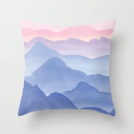 Magical Candy Hand-painted Watercolor Mountains, Airy Mountain Landscape in Pastel Blush Pink, Purple and Blue Color Throw Pillow