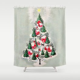 Vintage Christmas Tree Village Shower Curtain