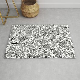 Lots of Bodies Doodle in Black and White Rug