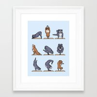 bull terrier Framed Art Prints featuring Bull Terrier Yoga by Huebucket
