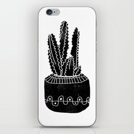 Cactus houseplant linocut cacti desert southwest black and white office home art products iPhone Skin