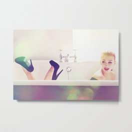 A Flirty Bathtime Metal Print