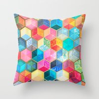 bohemian Throw Pillows featuring Crystal Bohemian Honeycomb Cubes - colorful hexagon pattern  by micklyn