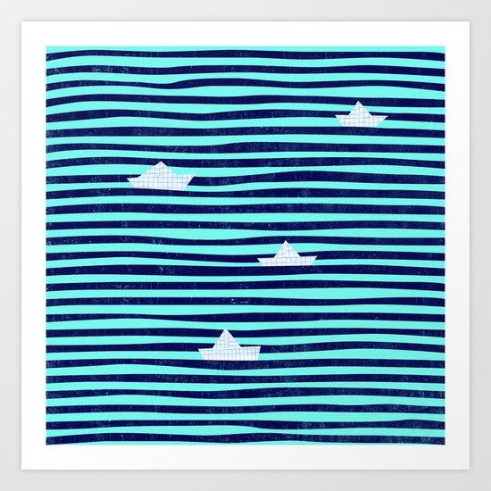 Origami boat on the blue sea Art Print