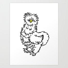 White Silkie Chicken Art Print