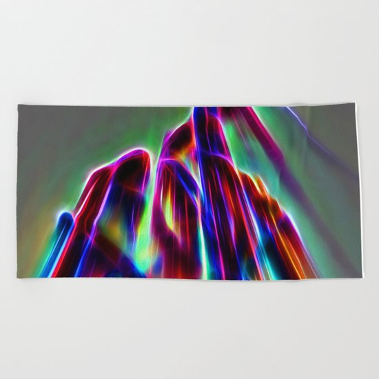 Neon mountain Beach Towel