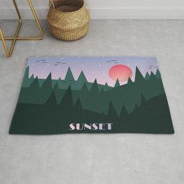 Sunset Landscape Illustration (Green) Rug