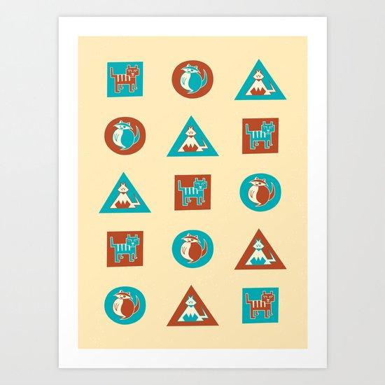 Geo Cats Art Print