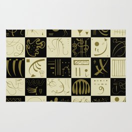 Kandinsky - Black and Gold Pattern - Abstract Art Rug
