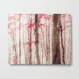 Pink and Brown Fantasy Forest Metal Print