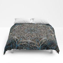 Smoke Swirl Blue Mandala Comforters