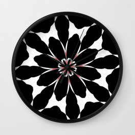 Bizarre Red Black and White Pattern 4 Wall Clock