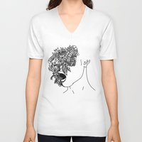 anxiety V-neck T-shirts featuring Anxiety by Jacquelyn Anthony