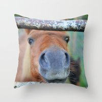 pony Throw Pillows featuring Pony by Blown A Wish Photography