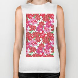 Red and Pink Poinsettias Biker Tank