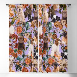 Dog and Floral Pattern Blackout Curtain