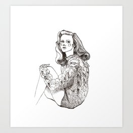 Girl in a Sweater, ink Art Print