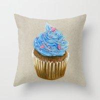 "cupcake Throw Pillows featuring ""Cupcake"" by Allana Vazquez"