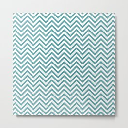 Teal & White Chevron Metal Print