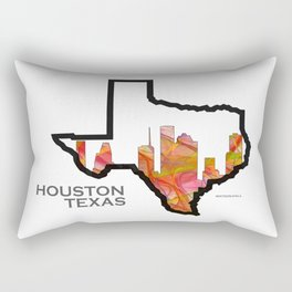 Texas State Map with Houston Skyline Rectangular Pillow