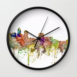 Des Moines, Iowa Skyline - Faded Glory Wall Clock