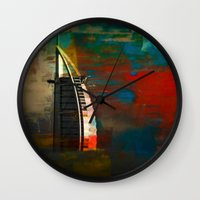 arab Wall Clocks featuring Burj Al Arab by Christine Becksted Images