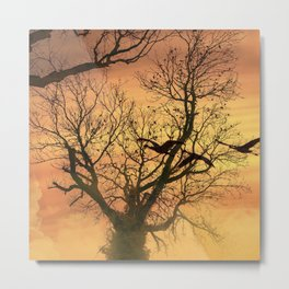 Twisted Autumn Tree At Sunset Metal Print