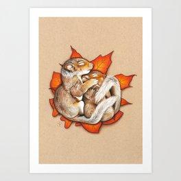 Autumn Squirrels Art Print
