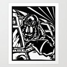 Monkey Pilot Black & White Art Print