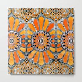Celebrating the 70's - tangerine orange watercolor on grey Metal Print