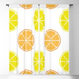 Orange and lemon fruit slices Blackout Curtain