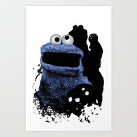 cookie monster Art Prints featuring Monster Madness: Cookie Monster by SB Art Productions