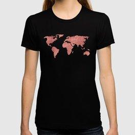 World Map Rose Gold Glitter T-shirt
