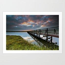 Bolsa Chica Wetlands Sunrise  6/17/14  (Reflections) Art Print