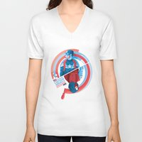 winter soldier V-neck T-shirts featuring The Winter Soldier by Florey